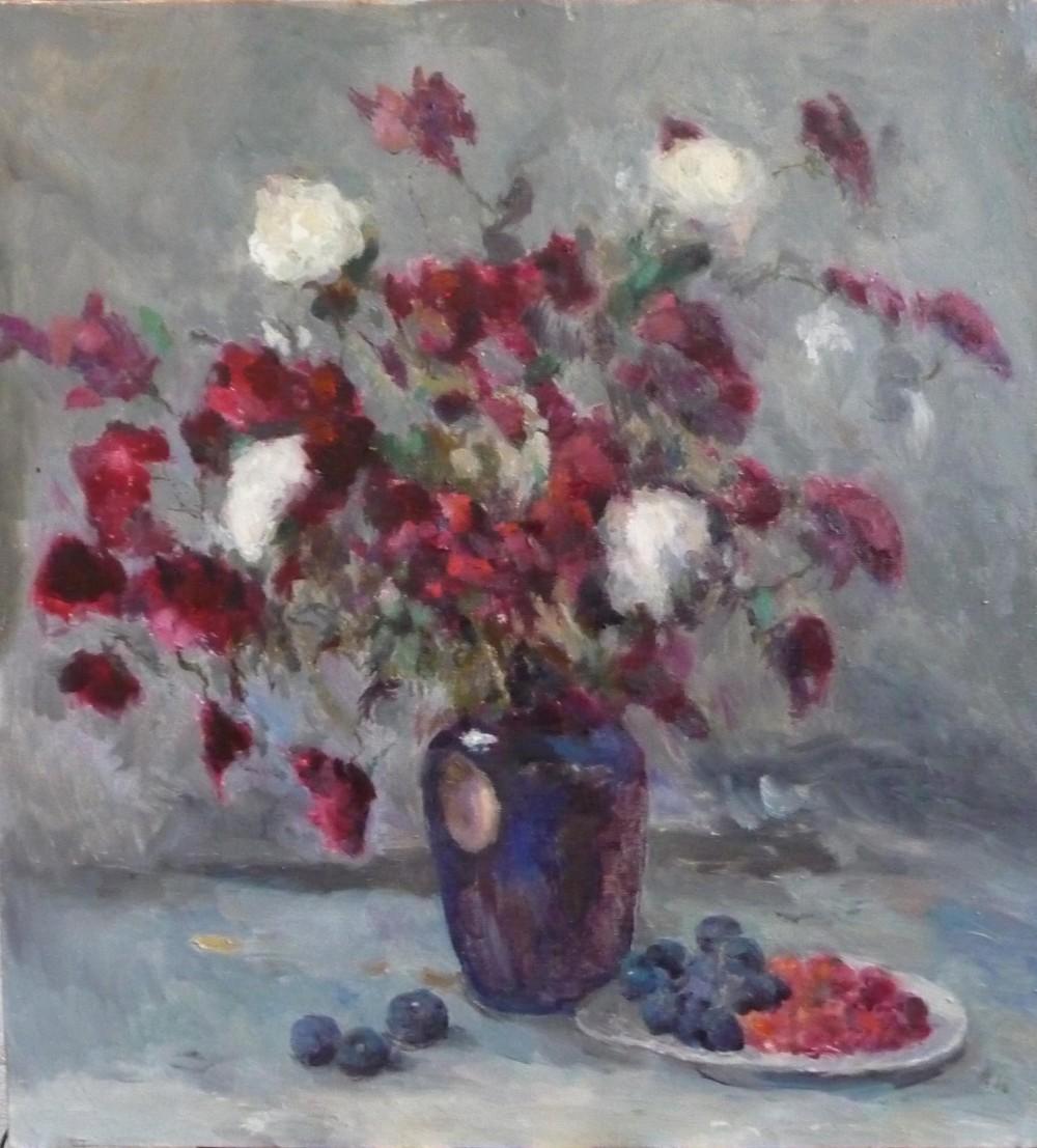 Коблов А.В. Хризантемы и ягоды х.м. 64,5х60 2007г