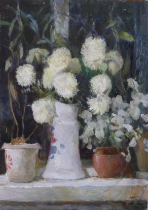Коблов А.В. Цветы на окне х.м. 70х50 2006г